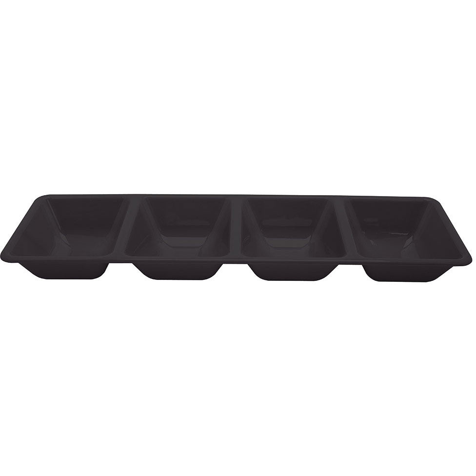 "Black Tray, Plastic 16"" 4-Compartment Tray"