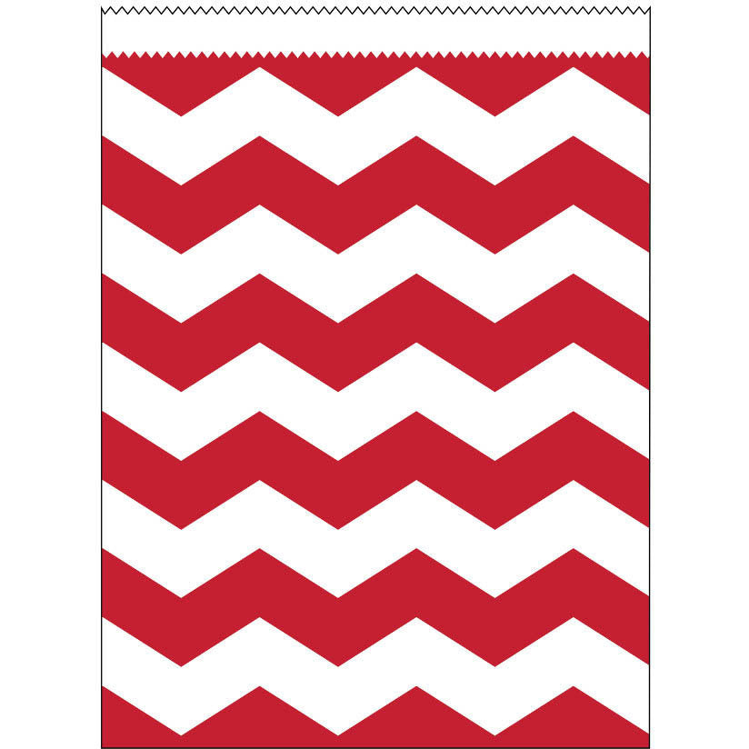 Classic Red Chevron Large Paper Treat Bags (10ct)