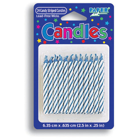 Blue Striped Stick Candles (24ct)