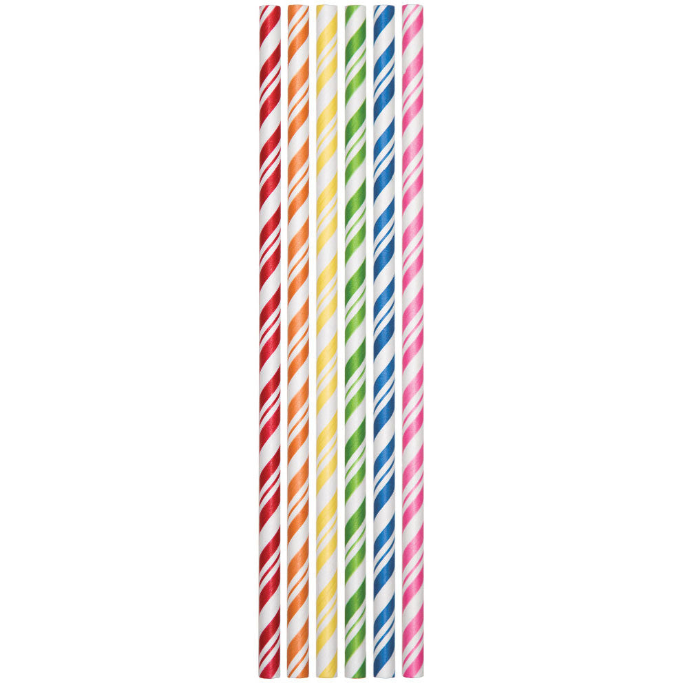 Assorted Striped Paper Straws (24ct)