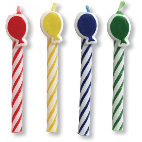 Balloon Striped Stick Candles (8ct)