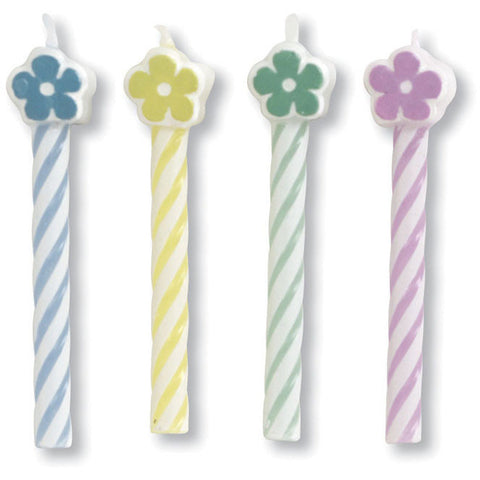 Flower Striped Stick Candles (8ct)