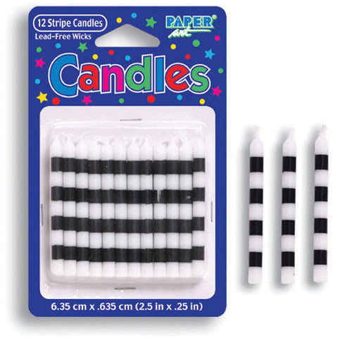 Black and White Striped Stick Candles (12ct)