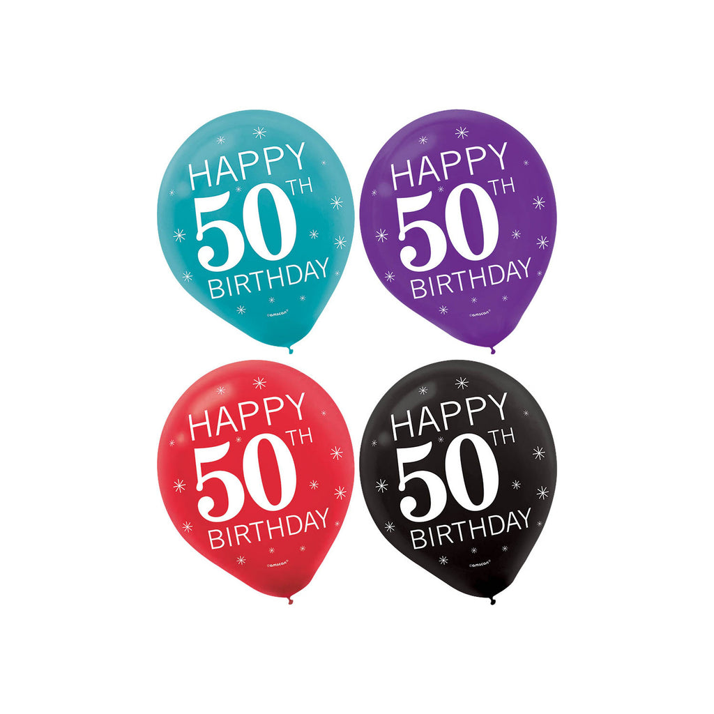 "Amscan 11"" Round Celebration 50 Latex Balloons (15 ct)"