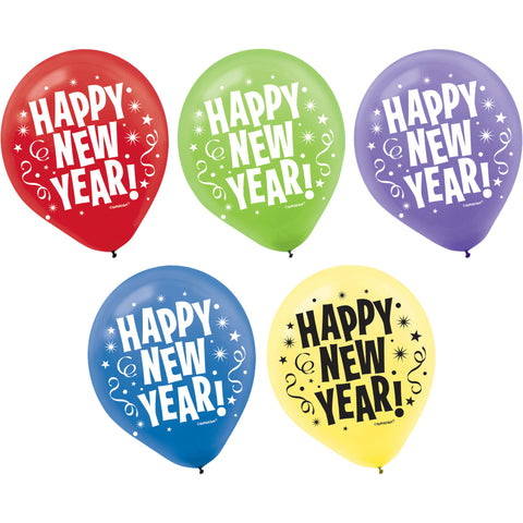 "12"" Happ New Year Latex Balloons (15ct)"