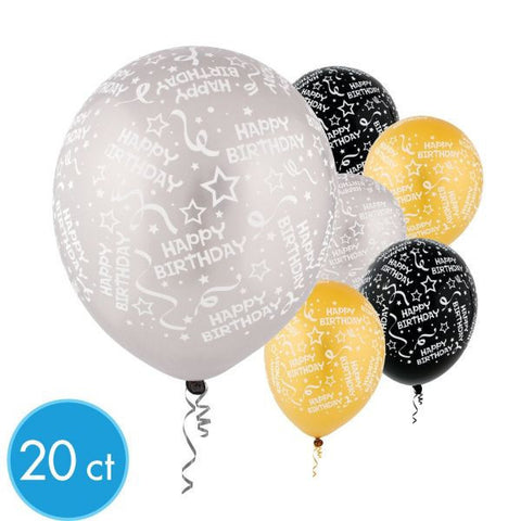 "12"" Black, Silver, and Gold Happy Birthday Latex Balloons (20ct)"