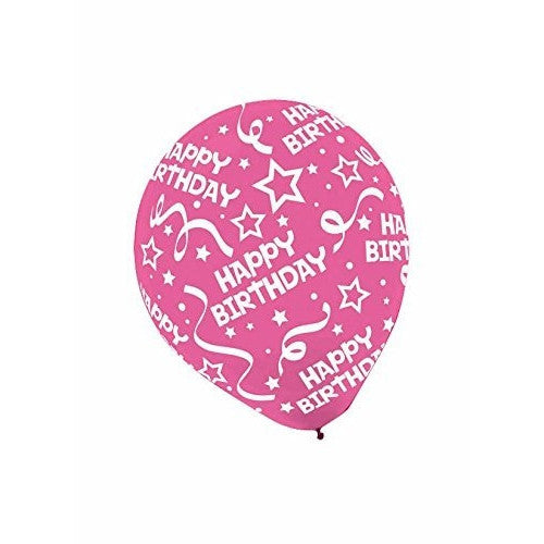 Birthday Confetti All Over Print Latex Balloon Assortment ‑ Bright, 12