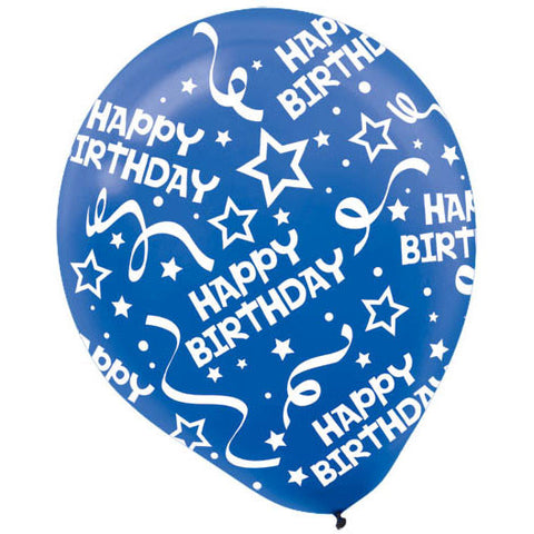 "12"" Happy Birthday Confetti Bright Royal Blue Latex Balloons (6ct)"
