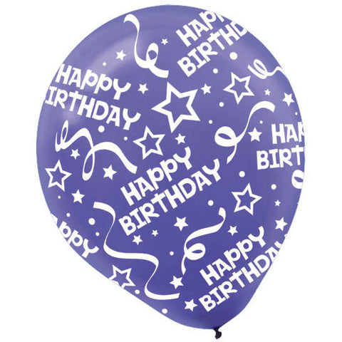 "12"" Happy Birthday Confetti New Purple Latex Balloons (6ct)"