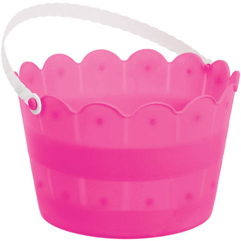 Bright Pink Scalloped Easter Bucket
