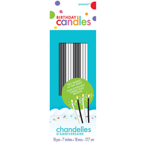 Black and White Sparkling Stick Candles