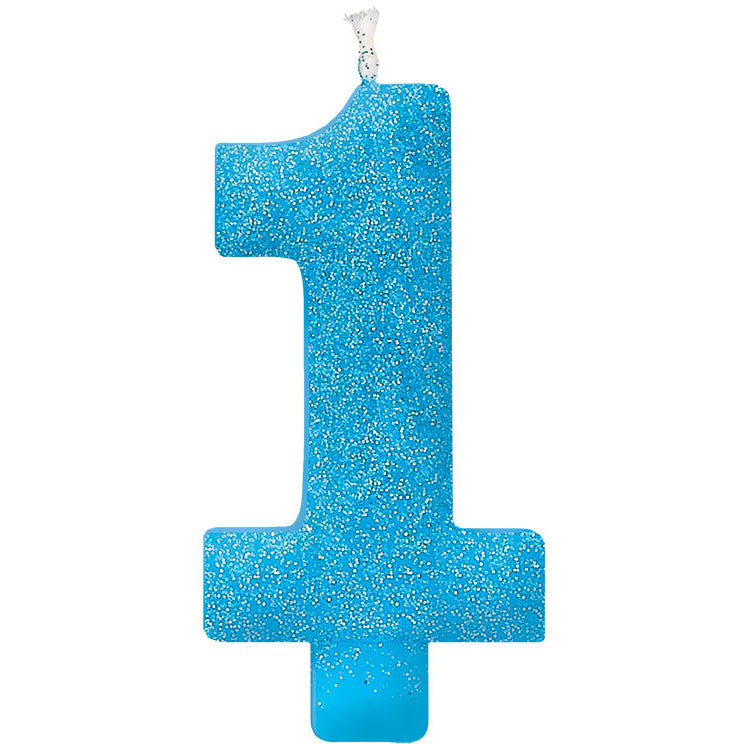 "Blue Glitter Giant 5"" 1 Numeral Candle"