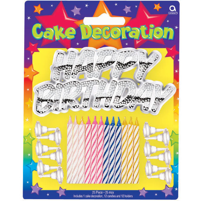 Metallic Happy Birthday Cake Decorating Kit