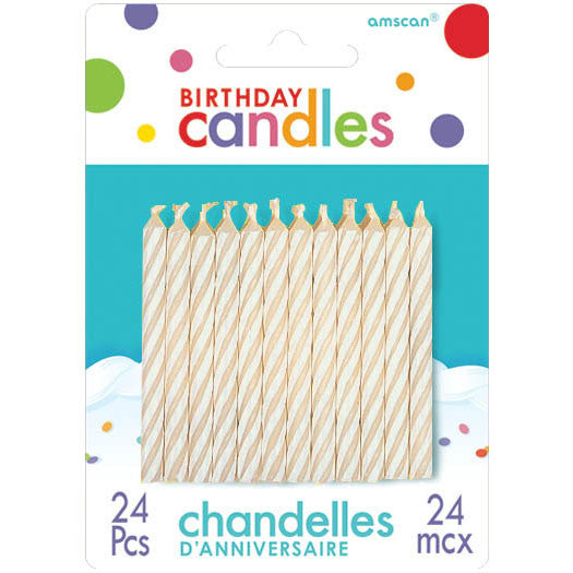 White Candy Stripe Stick Candles (24ct)