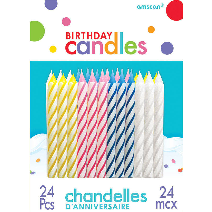 Candy Stripe Stick Candles (24ct)