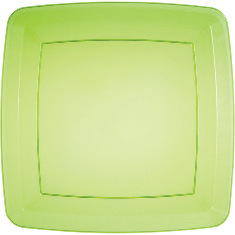 "Translucent Green 10.25"" Plastic Square Appetizer Plates (8ct)"