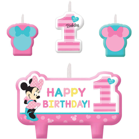 Amscan Minnie Fun To Be One Candle Sets (4 ct)