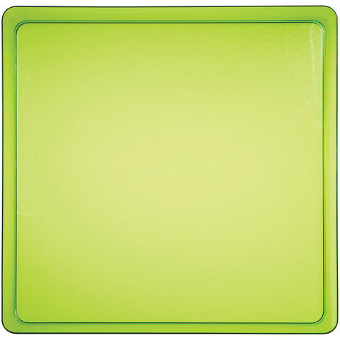 "Translucent Green 11.5"" Plastic Square Serving Tray"