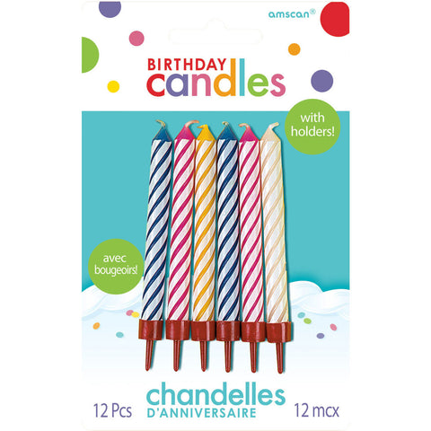 Multi-Color Spiral Candles w/Holders