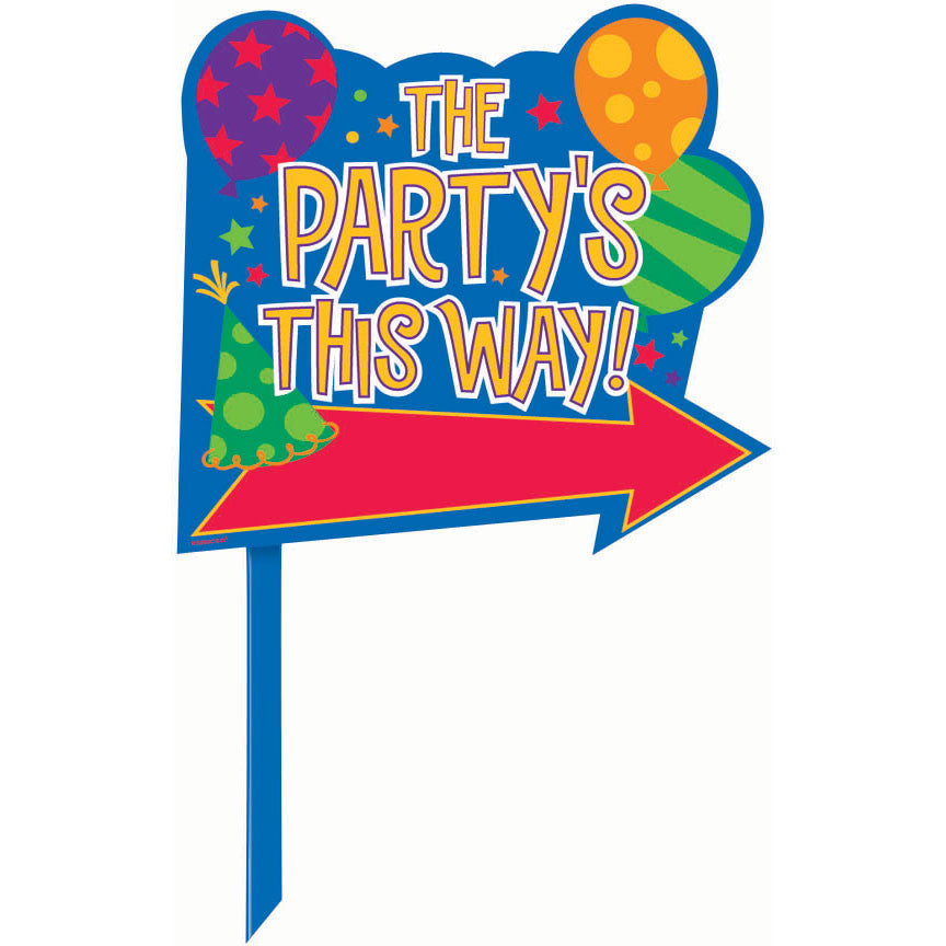 Party's This Way Directional Yard Sign