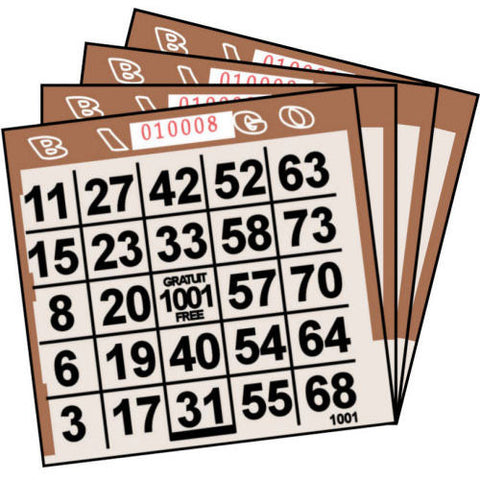 1 ON Brown Tint Paper Bingo Cards (500 ct)