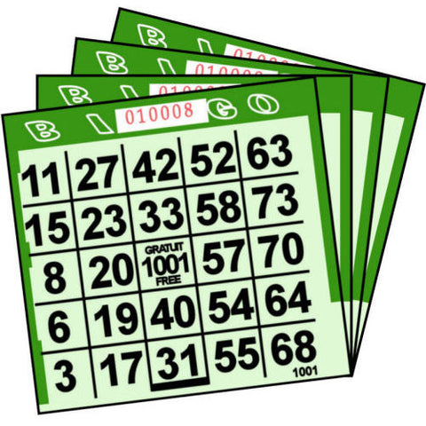 1 ON Green Tint Paper Bingo Cards (500 ct)