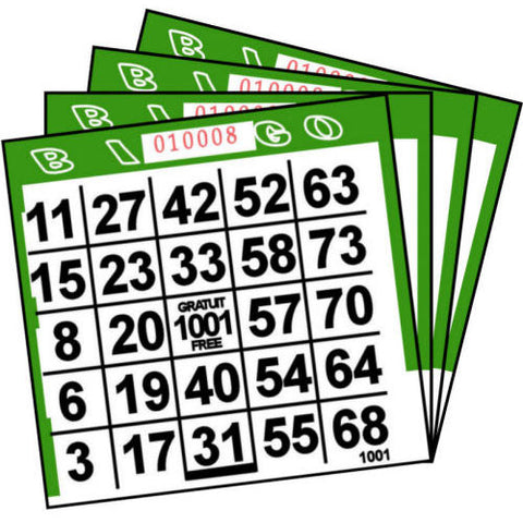 1 ON Green Paper Bingo Cards (500 ct)