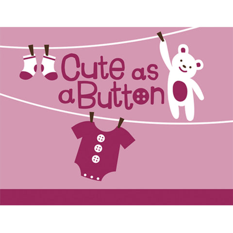 Cute as a Button - Girl Invitations