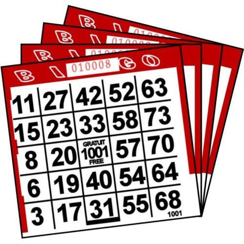 1 ON Red Paper Bingo Cards (500 ct)