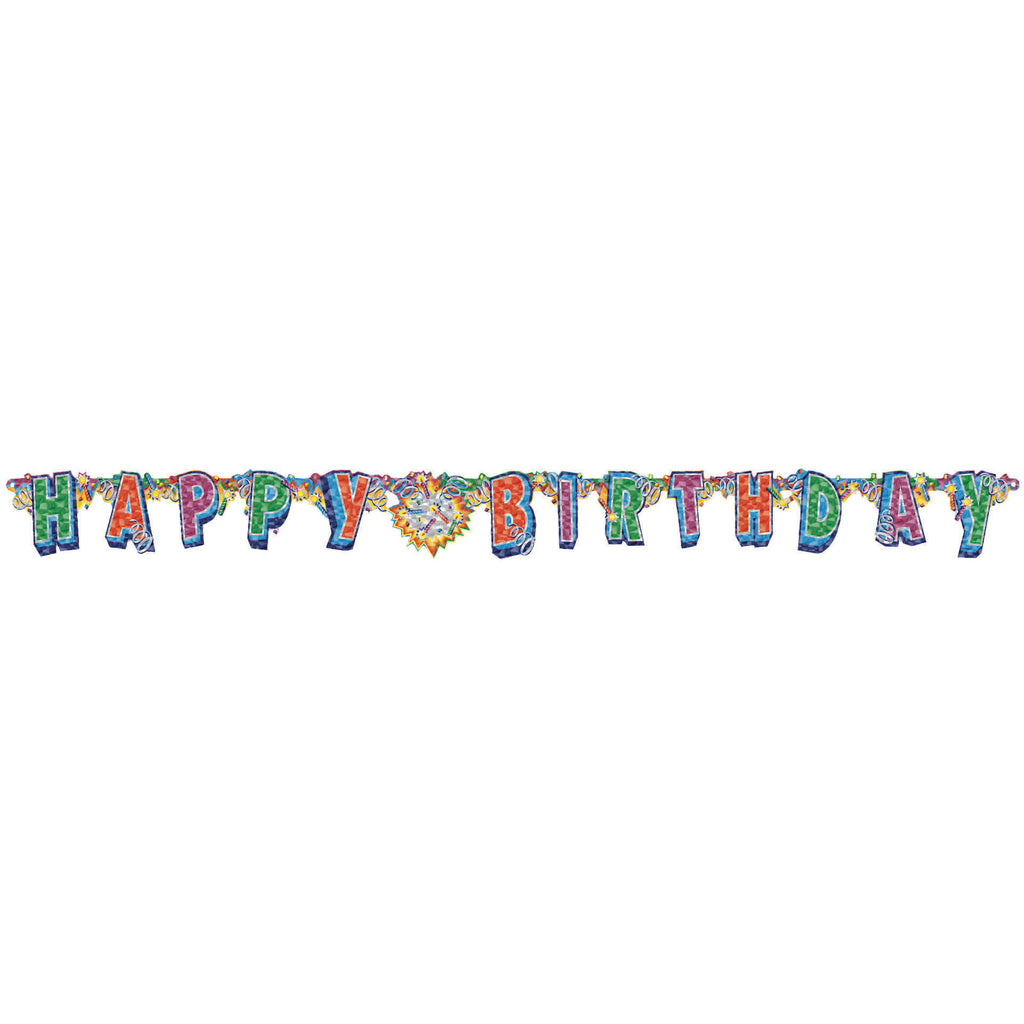 Birthday Explosion Prismatic Letter Banner