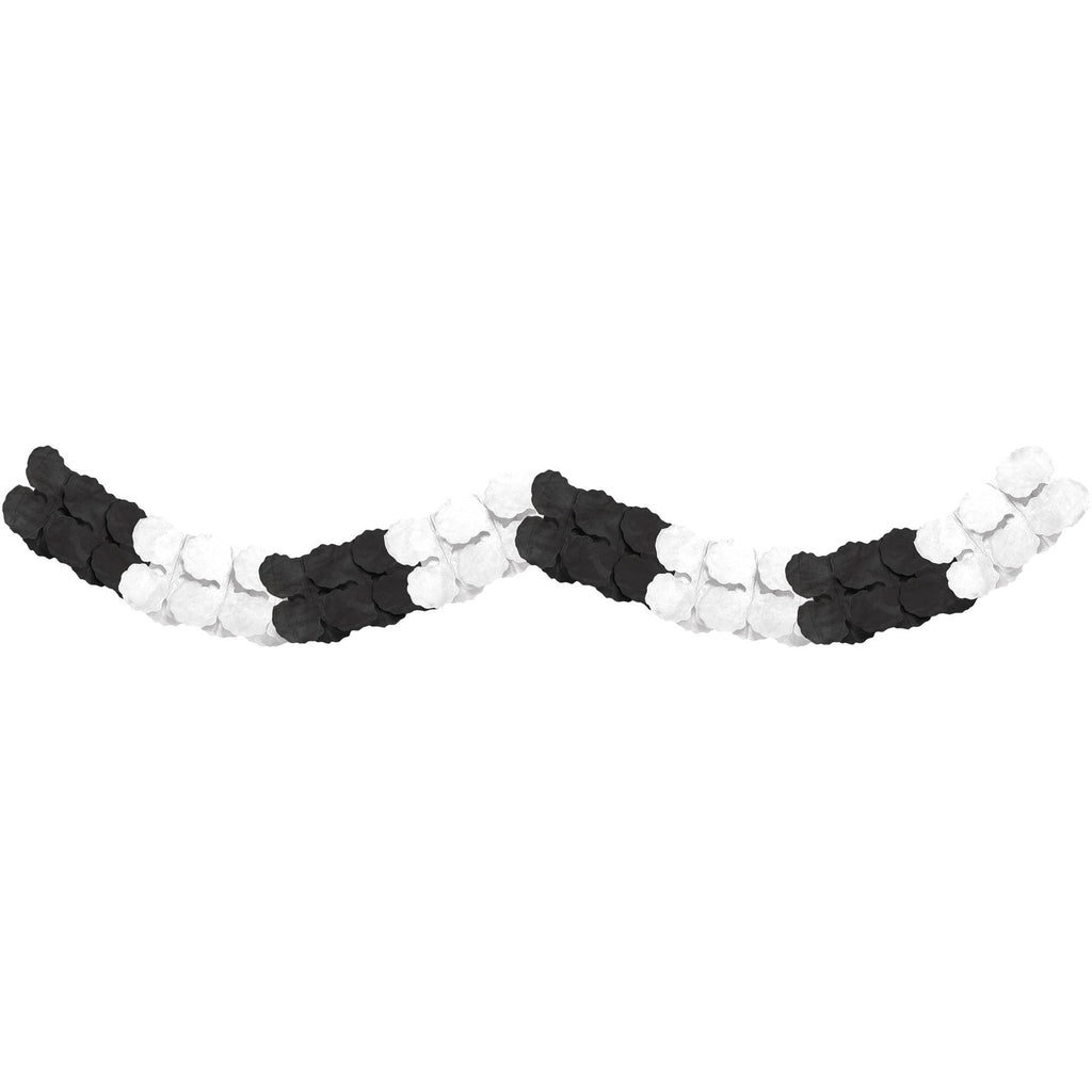 12' Black & White Tissue Paper Garland