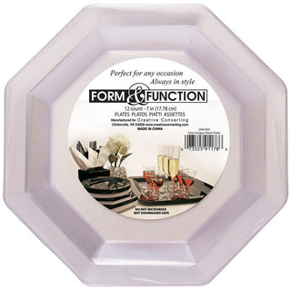 Form and Function Clear Octagonal Dessert Plates (12ct)