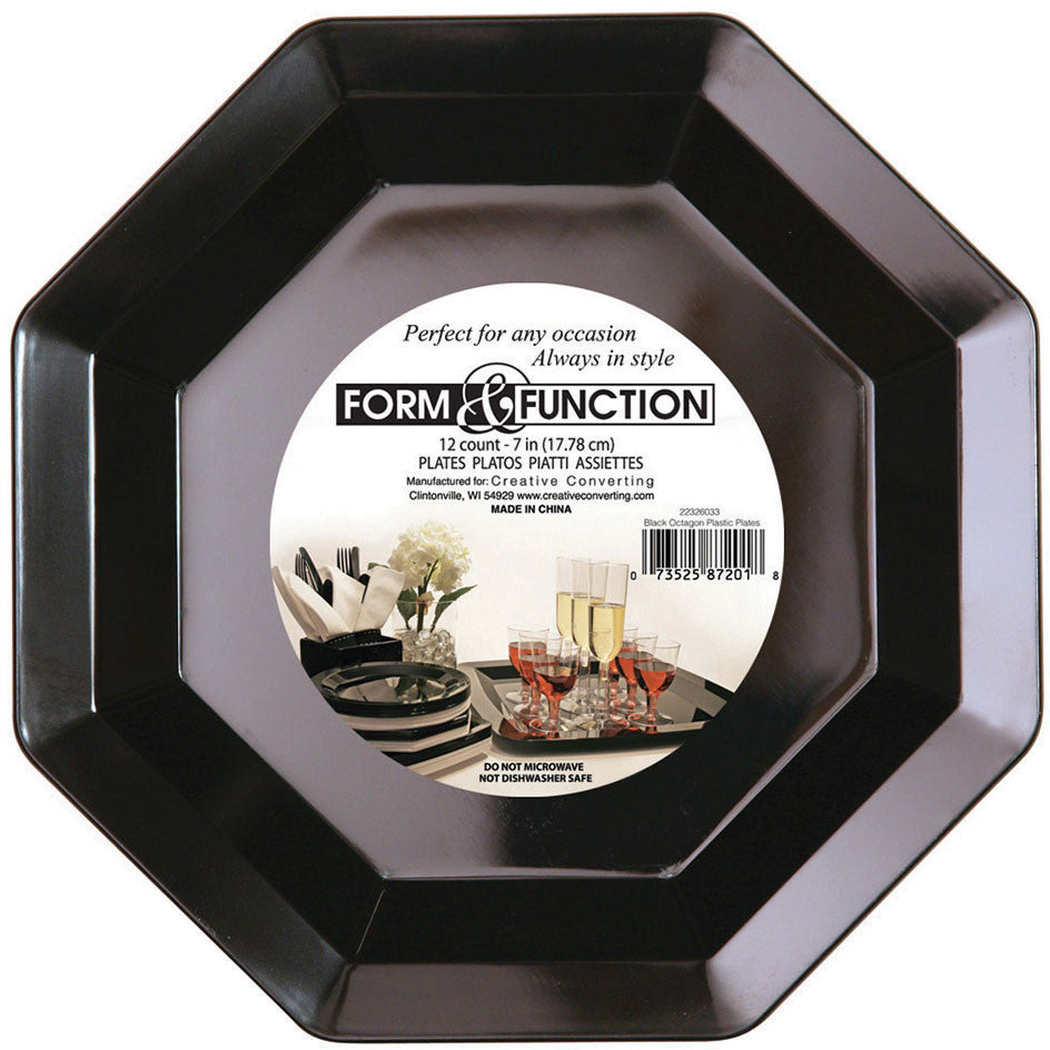Form and Function Black Octagonal Dessert Plates (12ct)
