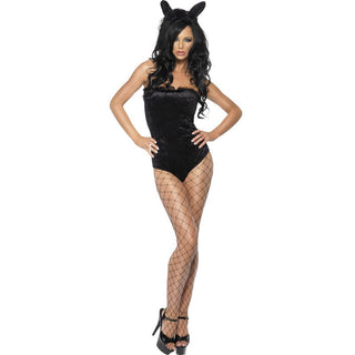 Fever Hostess Costume Black Leotard Ears And Tail Womens Medium