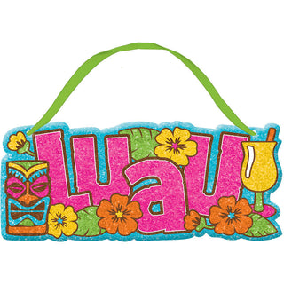 Luau Tiki Small Glitter Sign