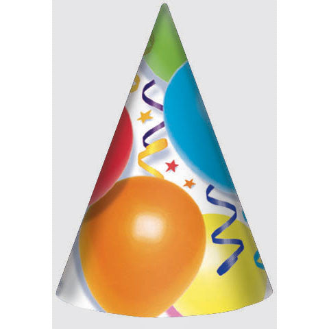 Balloons and Stars Party Hats (8ct)