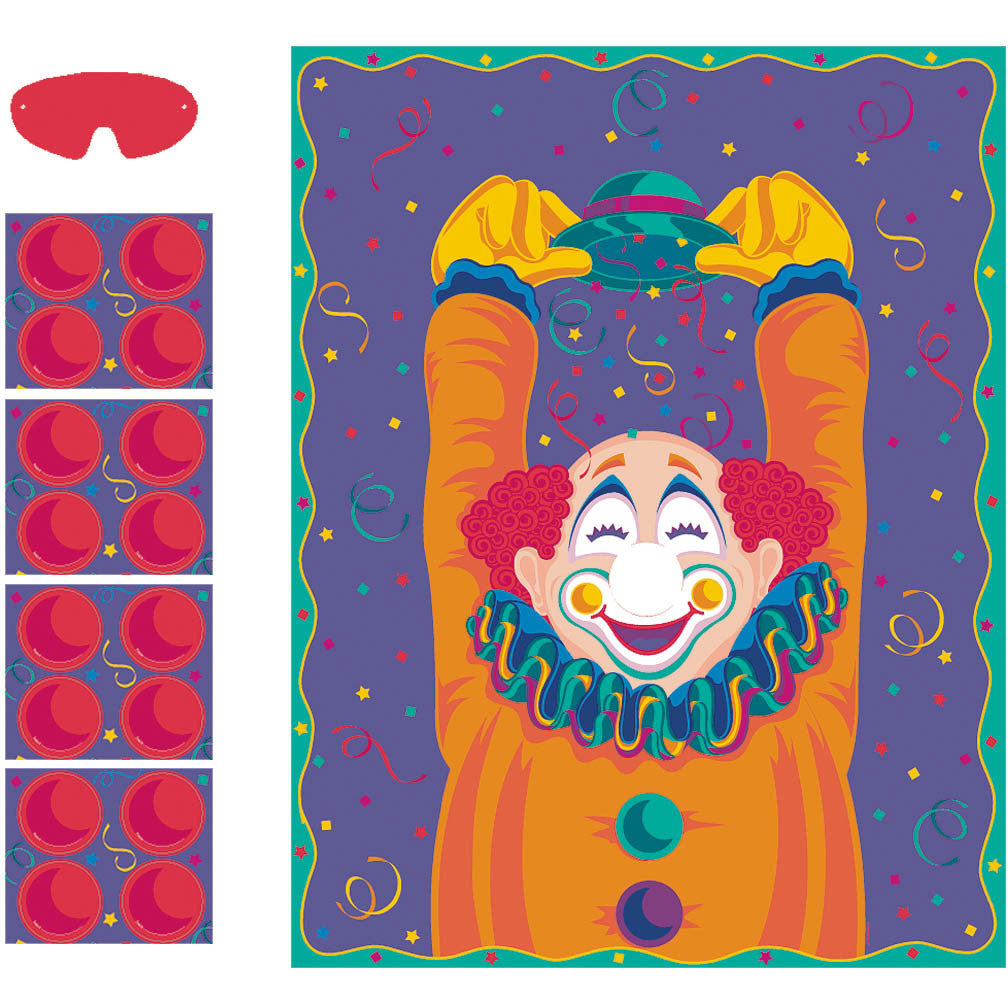 Clown Pin the Nose Party Game