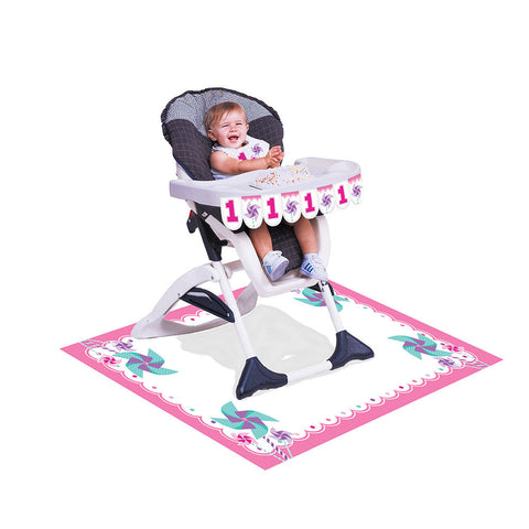 Turning One Girl High Chair Decorating Kit