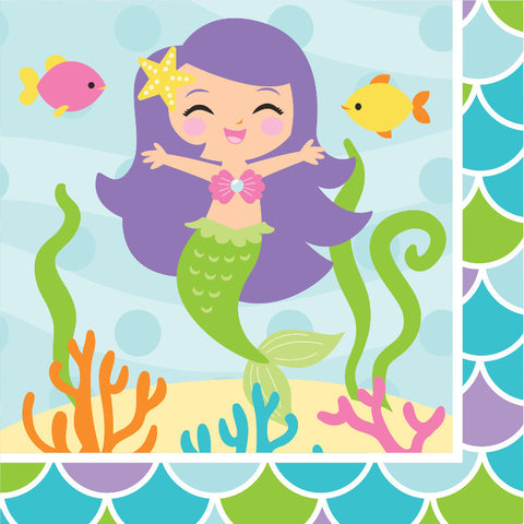 Mermaid Friends Beverage Napkins (16ct)