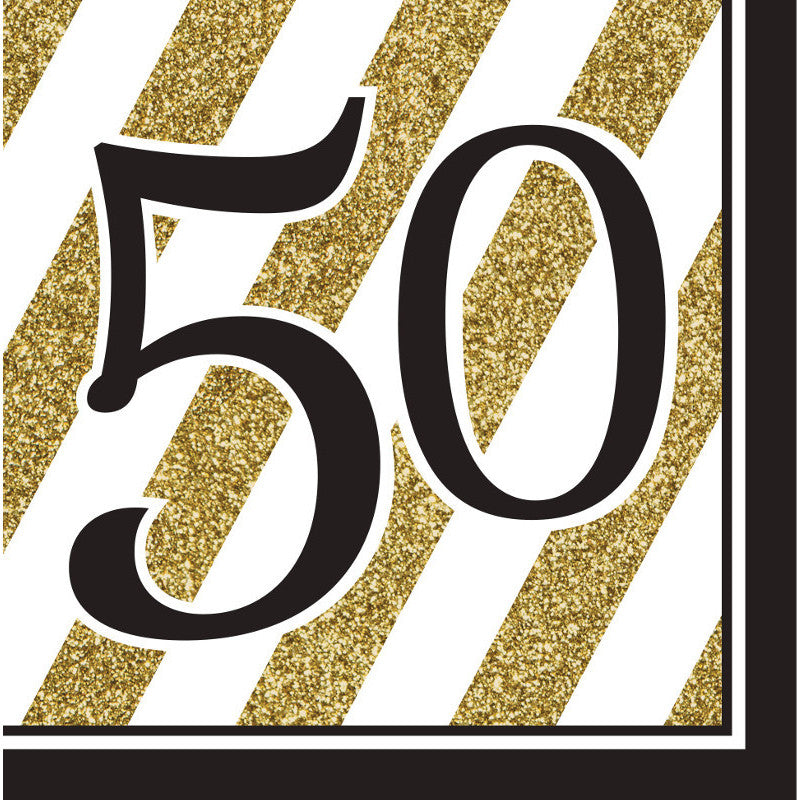 Black & Gold 50 Luncheon Napkins (16 ct)