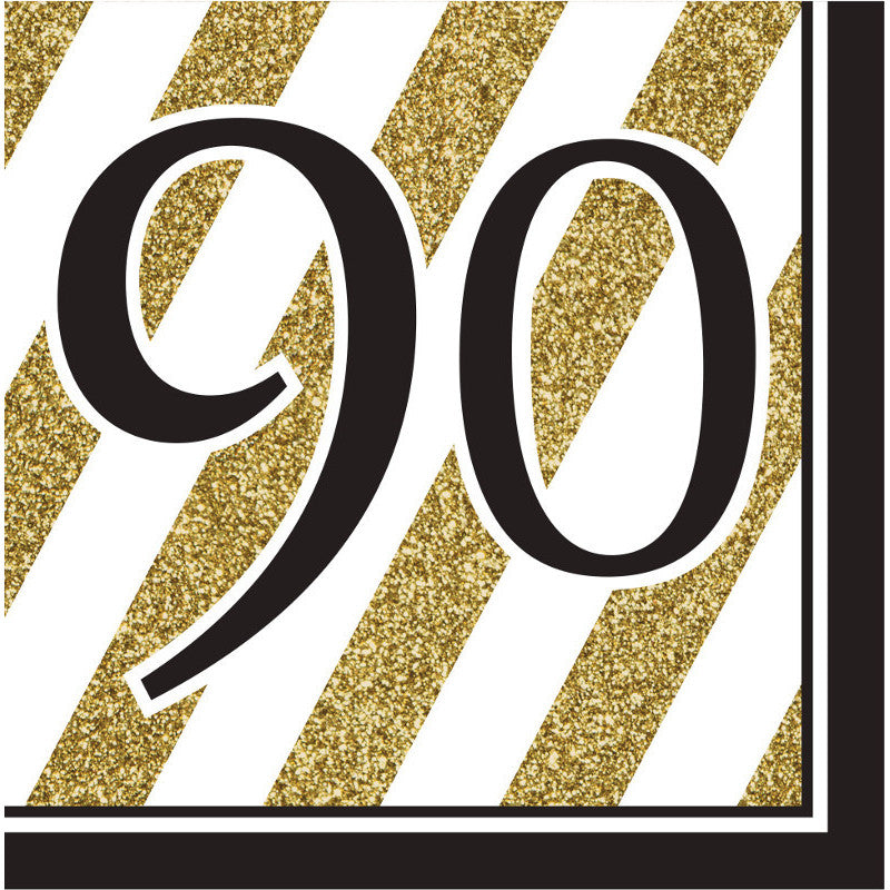 Black & Gold 90 Luncheon Napkins (16ct)