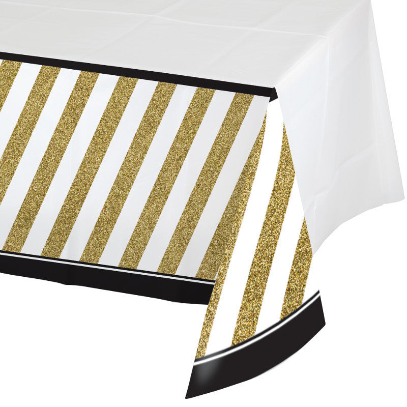 Black & Gold Rectangle Plastic Tablecover