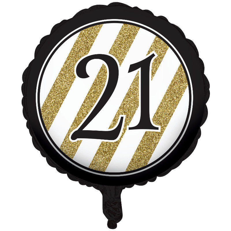 "Black & Gold 21 18"" Round Foil Balloon"
