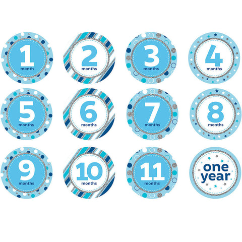 Blue Glitter Monthly Birthday Stickers (12ct)