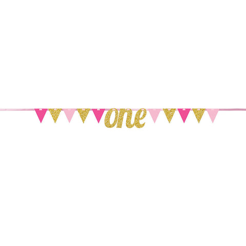 Pink Glitter One First Birthday Pennant Banner