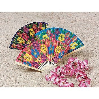 Paper Hibiscus Folding Fan (1 ct)
