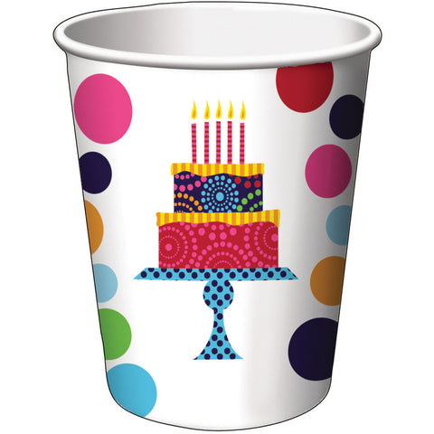 Birthday Cake Stand 9oz Cups (8ct)