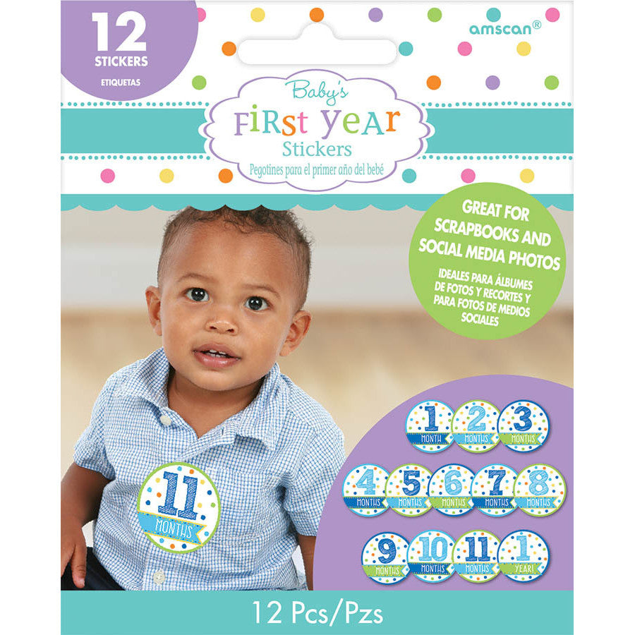 Baby Boys First Year Sticker Sheets (12 ct)