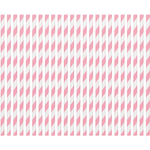 New Pink Paper Straws (80ct)
