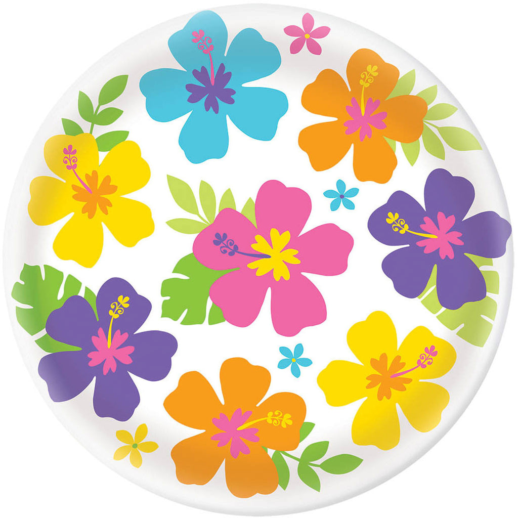 White Hibiscus Round Melamine Serving Tray